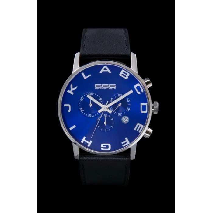 Ceas 666Barcelona Alphabet Blue Chrono Leather 8424210002630 Barbatesc