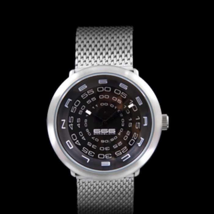 Ceas 666Barcelona Concentric mesh black/white 842421000CONCE Unisex