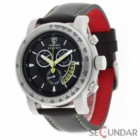Ceas Detomaso SCAFATI Black Yellow Leather Chronograph DT1031-D Barbatesc