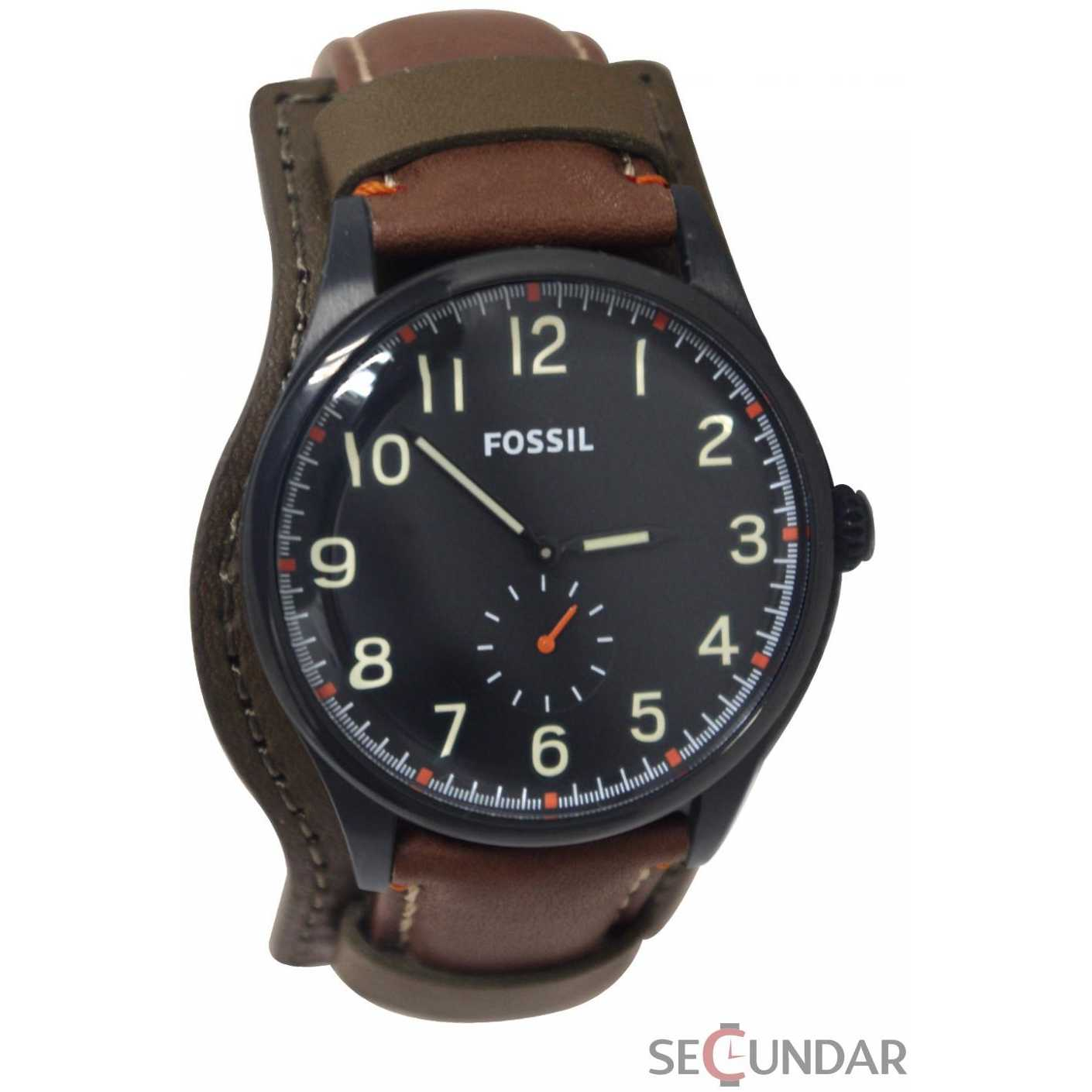 Ceas Fossil FS4917 The Agent Three-Hand Brown Leather Watch Barbatesc