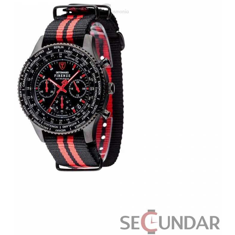 Ceas Detomaso Firenze Stripes Black/Red DT1070-D Barbatesc