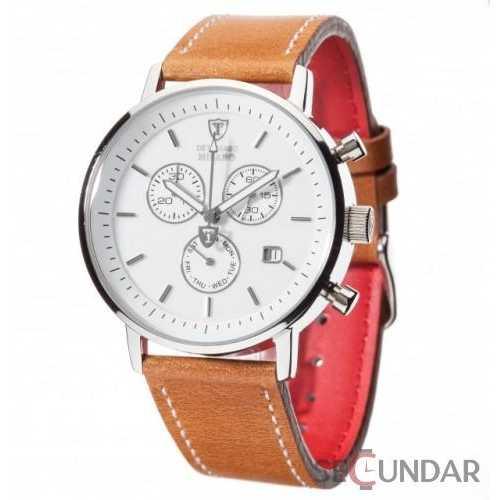 Ceas Detomaso MILANO DT1052-G Chronograph White/Brown Barbatesc