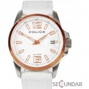 Ceas Police Lancer PL 12591JSSR-01 White Leather Strap Silver Dial and Gold IP Case Barbatesc