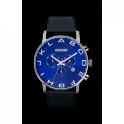 Ceas 666Barcelona Alphabet Blue Chrono Leather 8424210002630 Barbatesc imagine mica