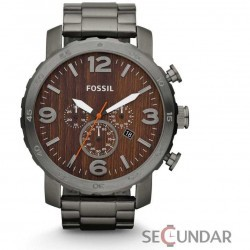 Ceas Fossil JR1355 Nate Chronograph Stainless Steel Watch Smoke Barbatesc imagine mica