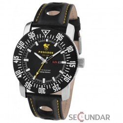 Ceas Poseidon 6011bla Chrono Silicon Black Barbatesc imagine mica